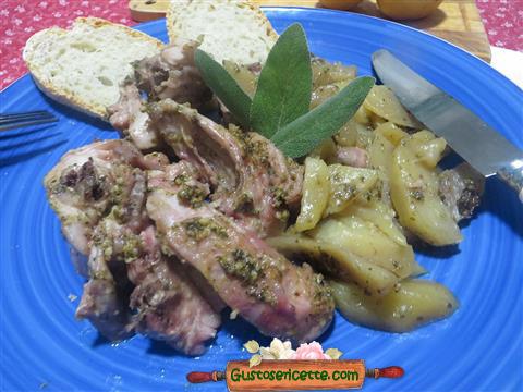Coniglio al cartoccio patate e pesto