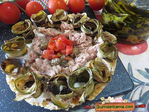 Cheesecake salato zucchine grigliate sott olio