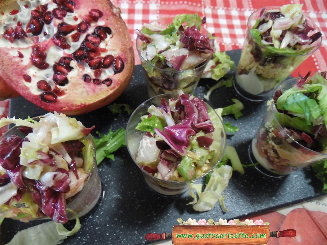 Bicchierini salati mortadella e melagrana