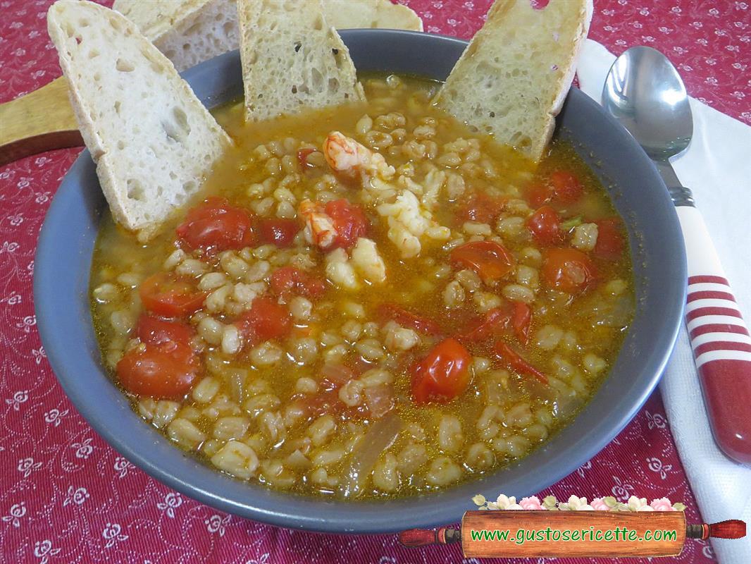 Zuppa di farro con gamberoni